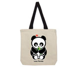 Love Panda Boy with Bamboo Cotton Canvas contrasting handle bag