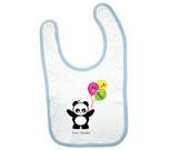 Love Panda Boy with Balloons Baby Bib