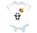 Love Panda Boy with Panda Face Balloons Baby Rib 2 Tone One Piec