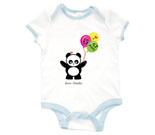 Love Panda Boy with Panda Face Balloons Baby Rib 2 Tone One Piec