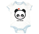 Love Panda Girl Head Baby Rib 2 Tone One Piece