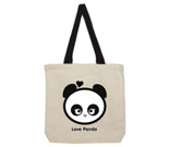 Love Panda Girl Head Black and White Cotton Canvas contrasting h