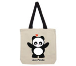 Love Panda Girl Standing Canvas contrasting handles bag