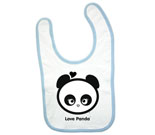 Love Panda Girl Head Black and White Baby Bib