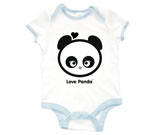 Love Panda Girl Head Black and White Baby Rib 2 Tone One Piece