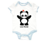 Love Panda Girl Standing Baby Rib 2 Tone One Piece‏