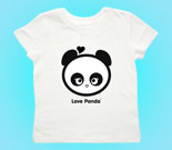 Love Panda Girl Head Black and White Toddler's Jersey T-Shirt