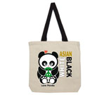 Love Panda Girl Asian/White/Black Cotton Canvas with contrasting