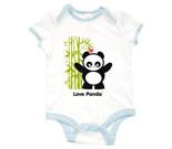 Love Panda Girl Standing with Bamboo Tree Baby Rib 2 Tone One Pi