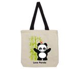 Love Panda Girl Standing with Bamboo Tree Cotton Canvas contrast
