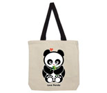 Love Panda Girl with Bamboo Cotton Canvas contrasting handle bag