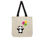 Love Panda Girl with Panda Face Balloons Cotton Canvas contrasti