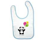 Love Panda Girl with Balloons Baby Bib