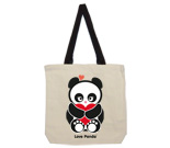 Love Panda with heart Cotton Canvas with contrasting handles bag
