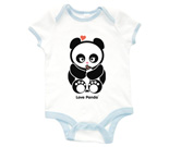 Love Panda with bottle Baby Rib 2 Tone One Piece‏