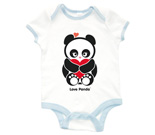 Love Panda with heart Baby Rib 2 Tone One Piece‏