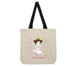 Princess Cherry Dark Hair Cotton Canvas with contrasting handles